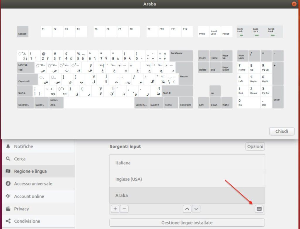 Verifica del layout tastiera araba selezionato