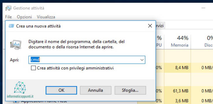 Aprire il Prompt dei comandi dal task manager di windows